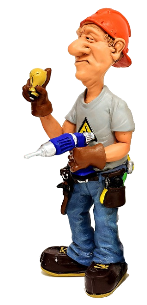 caricature model of a basement waterproofing contractor holding tools