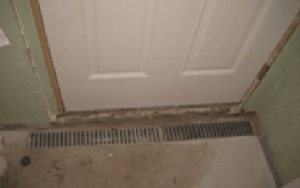 photo of a trench waterproofing basement drain in front of a door to catch water