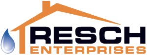 logo of Resch Enterprises: pictures Resch Enterprises words under a house roof and a water drip