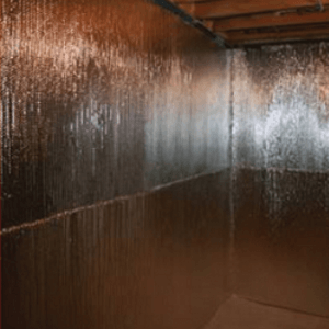 a picture of a insulated basement wall liner installed on a basement wall