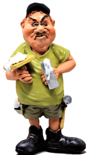 a caricature model of a basement wall straightening contractor holding tools