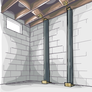 an illustration of Gorilla Wall Braces against a basement wall to fix a bowing basement wall